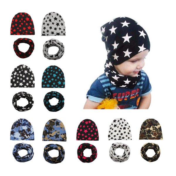 Mix 9 Colors Baby hats Christmas Kids winter Crochet caps Wholesale 2pcs sets (Hat+Scarf)Boys Girls Five Star Knitted Cap Toddler Beanies