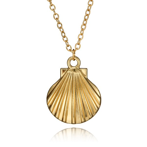 European and American new fashion creative Shell Necklace retro personalized metal alloy scallop single-layer necklace wholesale