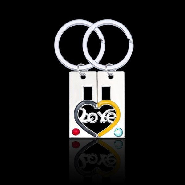 Simple Retro Hollow LOVE Heart-shaped Keychain LOVE Puzzle Couple Man Woman Pendant Key Ring Pendant Valentine's Day Gift