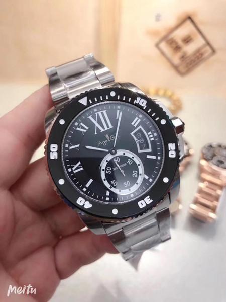 I nuovi uomini del cronografo al quarzo lunetta in ceramica in acciaio inox Cronometro Nero Blu Bianco Oro Rosa Sapphire Sport Watch