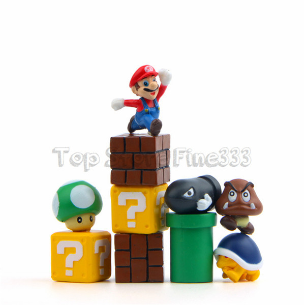 Supper Mario 10pcs/lot DIY Micro-View Layout Toy Mario Bullet Mushroom Pipe Action Figures doll Toy