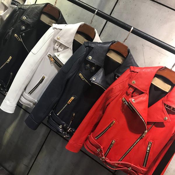 Real Leather Motorcycle Jacket Women Fashion Classical Zipper Jacket Coat Women Genuine Leather Jackets Coats Female