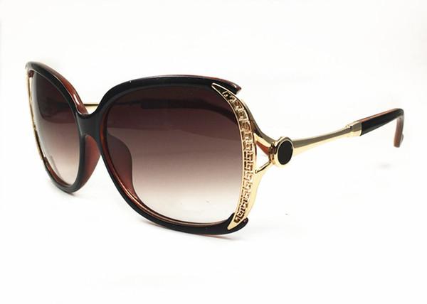 Nuevas gafas de sol de moda de lujo de las mujeres cara redonda marco grande anteojos personalidad elegante UV alta definición Goggle Eye exterior viajes Glasse