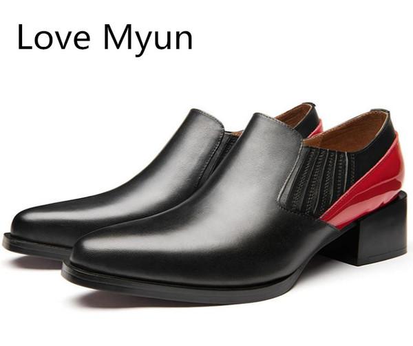 New Echtes Leder Kleid Männer Schuhe 5 cm High Heels herren Oxfords Karriere Arbeit Höhe Erhöhen Schuhe Mann Freizeit Party Dance