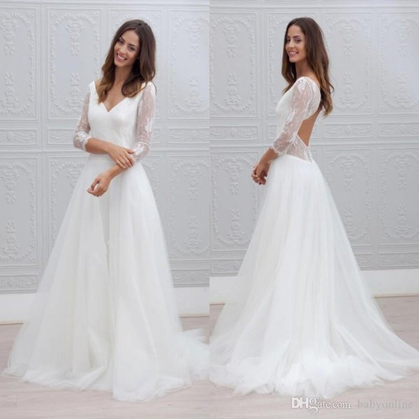 Romantic Summer Beach Simple White Wedding Dresses A Line Sexy Backless Sheer Long Sleeves V Neck Long Bridal Gowns Cheap
