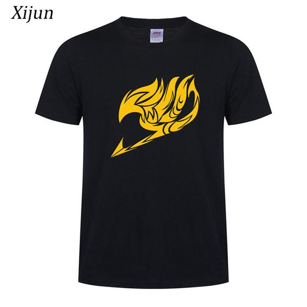 Xijun High quality t shirts men Anime FAIRY TAIL Printed Cotton t shirts man Short Sleeve O-neck Tees Soft Breathable Black Tops
