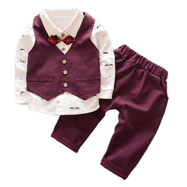 2019 New Spring Autumn Baby Boys Clothes Children Avtive Cartoon Beard Clothing Bow Tie Shirt+vest+pants 3pcs Sets Kids Roupas