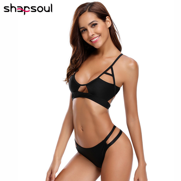 Thong Sexy Bikini Set Tankini Bikini Set 2019 Woman Low Waist String Sexy Swimwear Women Sport Swim Suit Solid Black White Wear