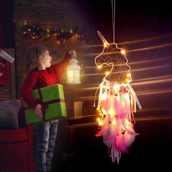 LED carillons éoliens licorne fait à la main Dreamcatcher plume pendentif Dream Catcher Creative voiture pendaison artisanat souhait cadeau décoration de la maison