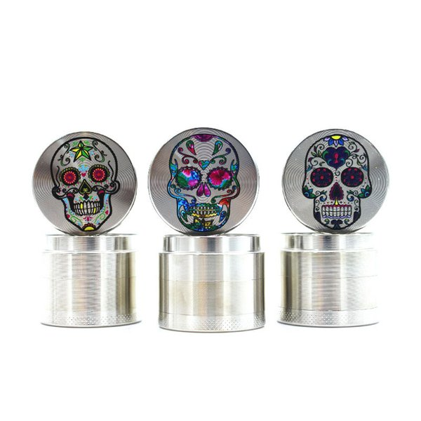 4 Layers Smoking Herb Grinders Tobacco Cigarette Lightning Grinder with Skull Zinc Alloy Smoke Accessories Free Shipping