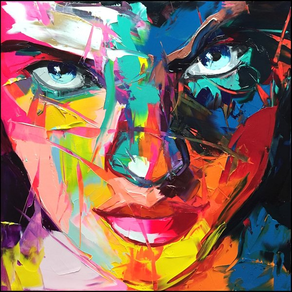 Francoise Nielly Palette Knife Impression Home Artworks Modern Portrait Handmade Oil Painting on Canvas Concave and Convex Texture Face023
