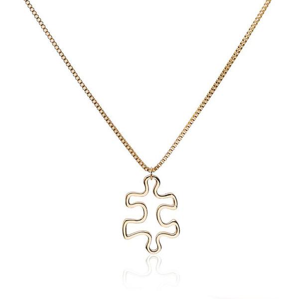 Fashion Cute Irregular Shape Pendant Necklace Gold Color Puzzle Element Zinc Alloy Jewelry For Women To Create Korean Necklace