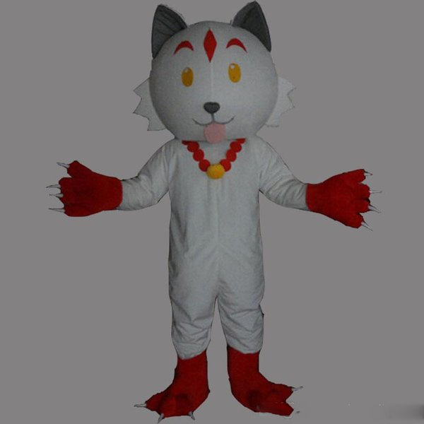 2019 Factory Outlets Stone Dog White Mascot Costume Fancy Party Dress Halloween Costumes Adult Size