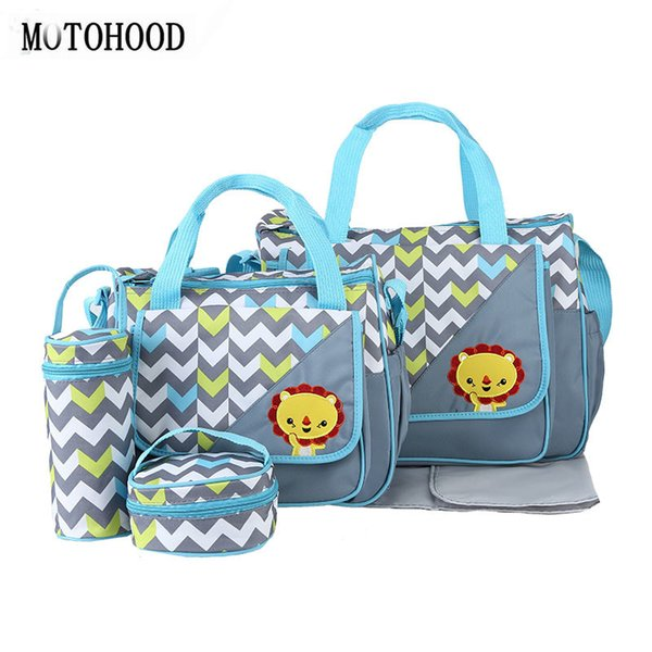 Motohood 5pcs Diaper Bags For Mom Changing Nappy Sets Mommy Baby Care Carriage Stroller Bag Organizer 30*43*14cm Q190530