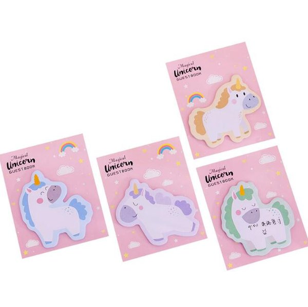 best selling Cute Unicorns Shape Sticky Notes Kawaii Cartoons Girls Memo Pads Sticky Notes Memo Notebook Stationery Notes Paper Stickers School Supplies