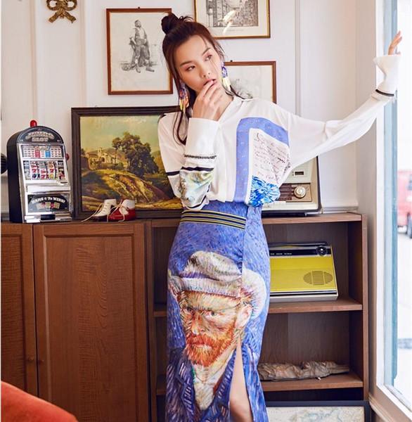 Elegante ufficio Lady Summer Vintage 2 pezzi donna manica lunga sciolto irregolare Top Camicetta bianca + elegante gonna Van Gogh