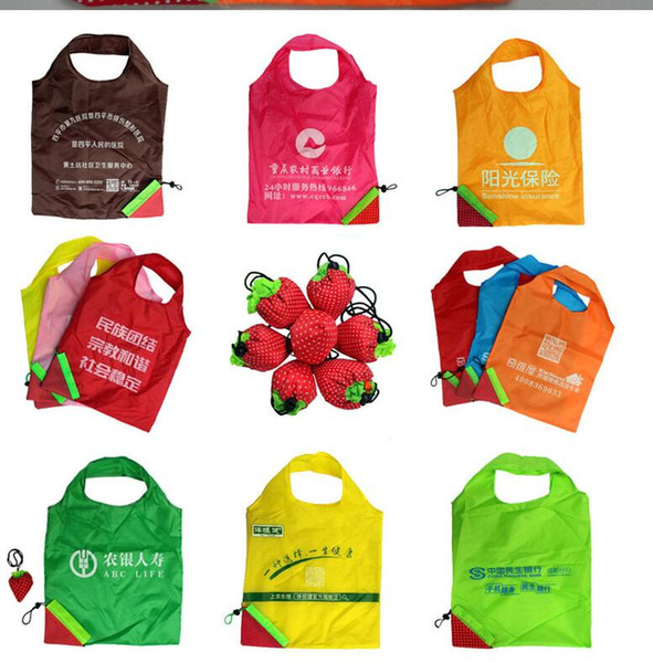 customization LOGO Nylon Cute Strawberry Shopping Bag Reusable Eco-Friendly Shopping Tote Portable Folding Bags pouch solid and durable