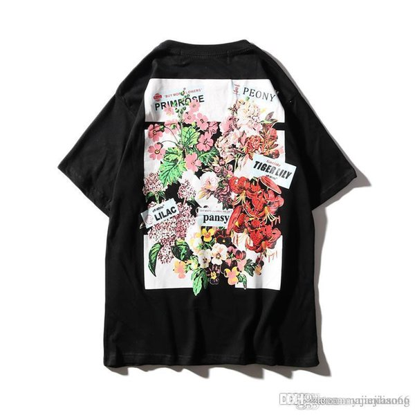 C942 europeus e americanos cartões de moda de rua, flor planta imprime, cor carta impressões, casais mangas curtas, t-shirts.