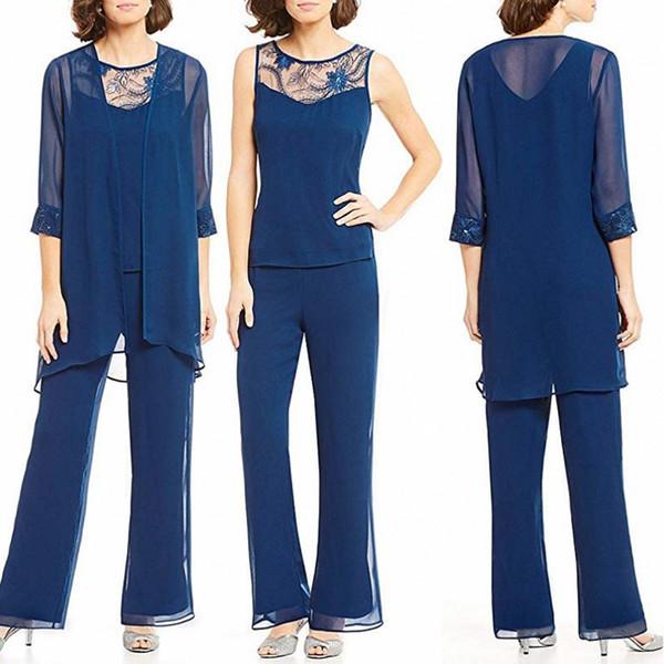Modern Yeni kadın 3 Parça Şifon Aplike 3 Parça anne Gelin Elbise Pantolon Takım Elbise Set Artı Boyutu Vestido Madre De La Novia
