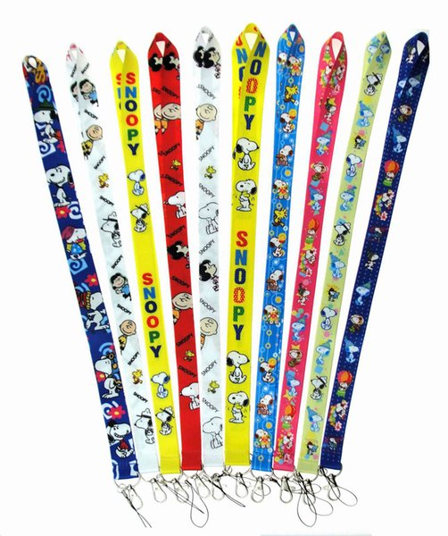 Wholesale New Style Lanyard Cartoon snooy 100PCS Anime Phone Cartoon Key Chain Necklace Neck Strap Work ID card lanya