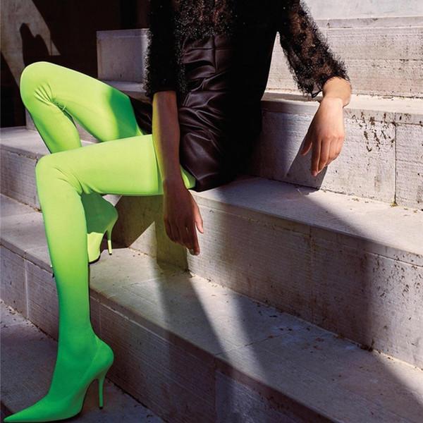 Botas de moda Sexy Stiletto Heels Botas Legging de satén Rojo Rosa Verde Pantalones pitillo de satén elástico Tall High Boots Tacones altos