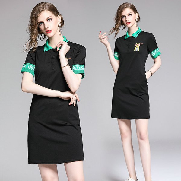 Short Sleeve Dress for Women Hot New Polos Collar T-shirt Dress Summer Young Girl Dress Fashion Casual Lapel Office Dresses