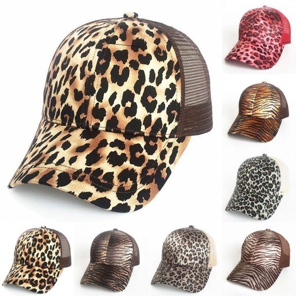 Новый леопардовый принт хвостик бейсболка 9 цветов сетка шляпы женщины грязный булочка повседневная хип-хоп Snapbacks