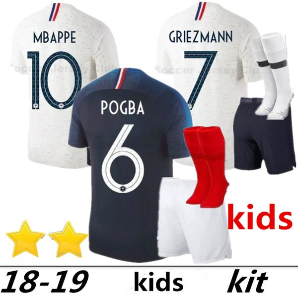 Dos estrellas 2 GRIEZMANN MBAPPE Kids kit camiseta de fútbol niños niño copa mundial 2018 POGBA UMTITI LACAZETTE camiseta de fútbol uniformes maillot de pie