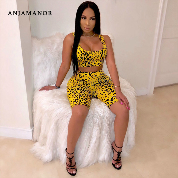 Anjamanor Yellow Leopard Print Sexy Two Piece Set Top And Pants Matching Short Sets For Women Summer Clothes 2019 D29-az84 Y19051402