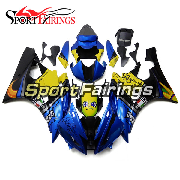 Blue Silver Yellow Shark Attack Carene sportive per Yamaha YZF-600 R6 2006 2007 Carenatura in plastica ABS 06 07 R6 Motocicletta Carena