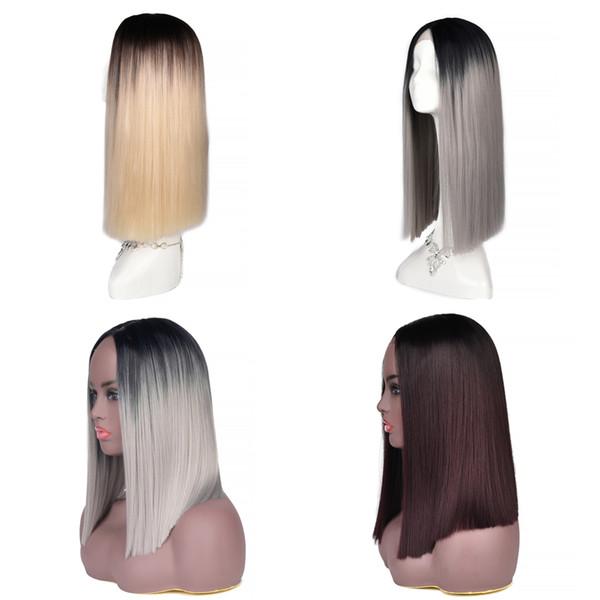 Großhandel Synthetische Lace Front Perücken Glattes Haar Zweifarbig 1b Blond Grau Weiß Burgund Ombre Perücke Hitzebeständige Faser Synthetische