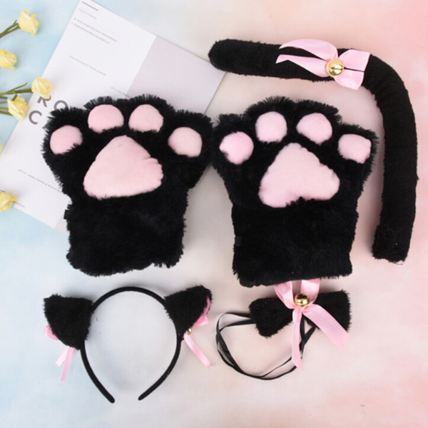 Women Lady Cat Girls Plush Ear Bell Headband Tie Tail Paws Maid Fancy Dress Set Party Cosplay Cat Ear Fur Hair Clip Hairbands