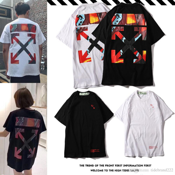 f82eb6fc o‍ff white 2019 summer hot new listing watercolor gradient graffiti striped  arrow short-sleeved T