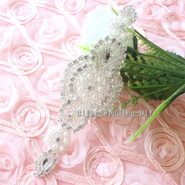 Fancy Diamanté Beaded Handmade Embellishment//Applique//Motif Trim Bridal Dress