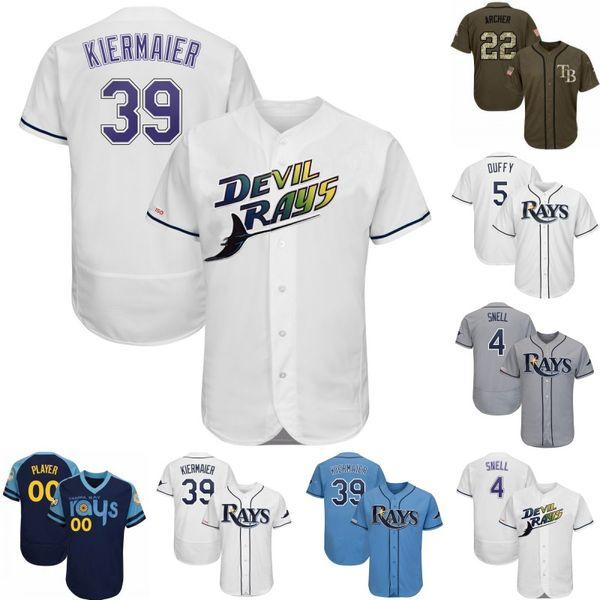 Tampa Bay 4 Snack Blake 39 Kevin Kiermaier 12 Wade Boggs 2 Yandy Díaz 10 Mike Zunino 24 Avisail Garcia 7 Michael Perez Raias Camisas de Beisebol