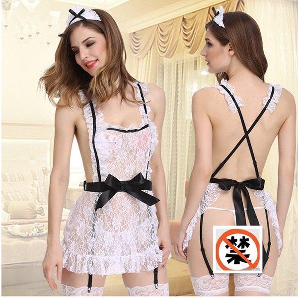 Set di lingerie da donna abbigliamento esotico hot fetish lingerie sexy in pizzo cosplay Set di abiti da cameriera sexy Costumi