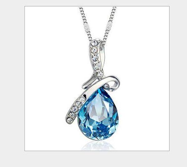 Yeni moda ve çekici kişilik yay melek gözyaşı damla Kristal Kolye Mavi Kolye butik melek gözyaşı Kolye Takı