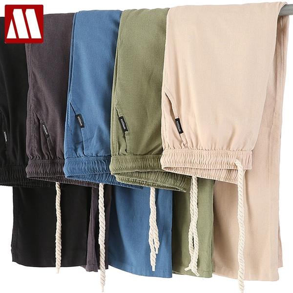 Pantalones casuales de lino de algodón para hombres nuevos Pantalones de chándal transpirables y delgados sólidos para hombres Pantalones de talla grande M-XXXXL Pantalones rectos MX190902
