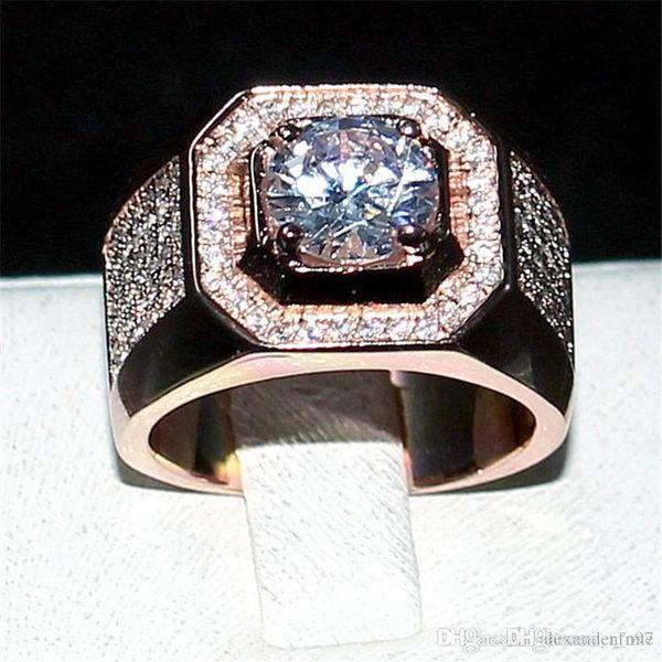 luxury Men 925 Sterling Silver Rose Gold Rings finger jewelry Eternal 6*6mm 1.2ct Diamond Zircon Cocktail Wedding ring For Men Boys Sz 7-13