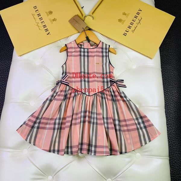 19ss çocuk giyim elbise kız moda kolsuz bebek elbise sevimli baskı Sling yaz Pileli etek elbise çocuklar mo-sc6
