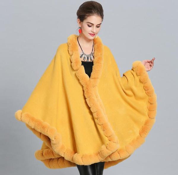 Europe Autumn Winter Women's Cape Cloak Coat Faux Fur Collar Tops Lady's Cardigan Outwear Poncho Coat C3908