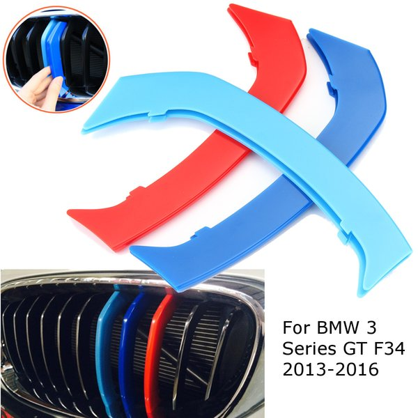 3D Car Frontgrill Trim Sport Streifen Grill Abdeckung Aufkleber 3 Pcs