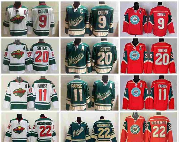 Pas cher Wild du Minnesota Accueil Maillots 9 Mikko Koivu 11 Zach Parise 20 Ryan Suter 22 Nino Niederreiter Maillots Hockey Logo Cousu S-XXXL