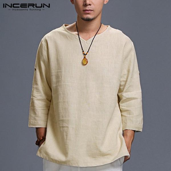 4b049946a6a INCERUN Estilo chino para hombre camisas de manga larga doblada con cuello  en V llanura camiseta