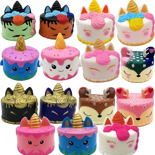 ins squishy CutePink unicorn Toys 8-12CM Colorful Cartoon Unicorn Cake Tail Cakes Kids Fun Gift Squishy Slow Rising Kawaii Squishies