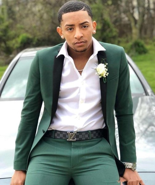 2019 Mens Suits Slim Fit Two Pieces Groomsmen Wedding Tuxedos For Men Peaked Lapel One Button Formal Prom Suit (Jacket+Pants)