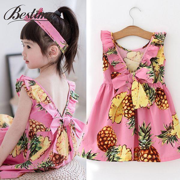 Summer Pineapple Girls Dress Pink Cotton Sleeveless Kids Dresses Beach Dress Fashion Kids Clothing Dress for Girls