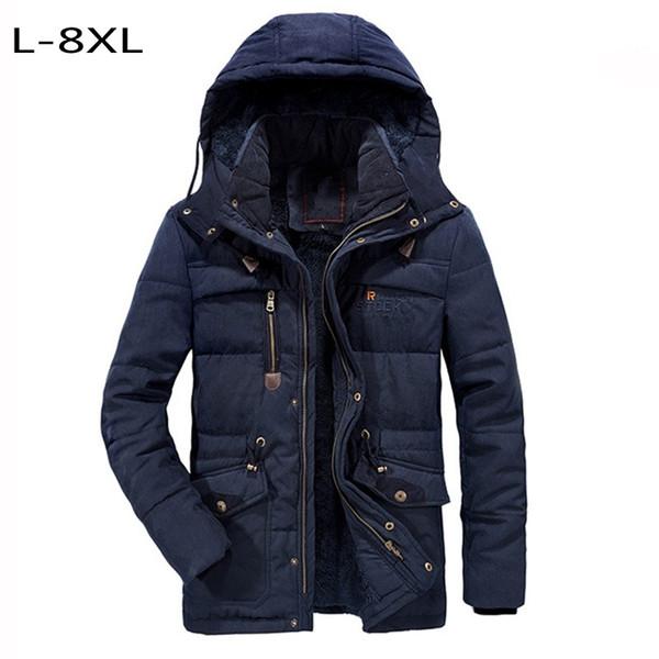 Abrigo acolchado de algodón para hombre XL-7XL 8XL abrigos acolchados gruesos chaqueta térmica forro de lana abrigo abrigos abrigados sombrero desmontable