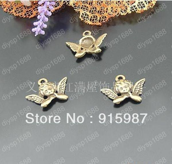 Doux cloche 200 pcs 20 * 11 mm Vintage Bronze Ange ailes pendentifs Bijoux Charme Pendentifs Résultats Fit fabrication de bijoux Free shopping