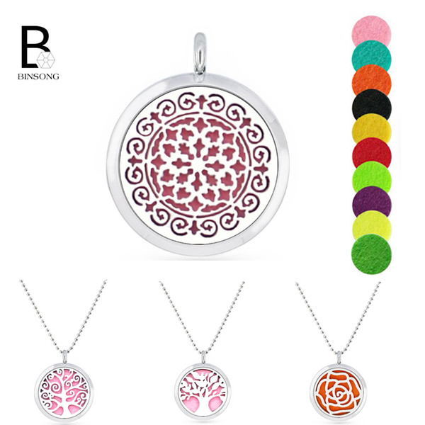 30mm magnetic stainless steel +alloy family tree music note Aromatherapy essential oil Locket Perfume Diffuser pendant +1pc Pad randomly